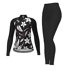 cheap Cycling Jersey & Shorts / Pants Sets-21Grams Women's Long Sleeve Cycling Jersey with Tights Winter Polyester Black Novelty Floral Botanical Bike Jersey Tights Clothing Suit Breathable Quick Dry Moisture Wicking Back Pocket Sports Novelty