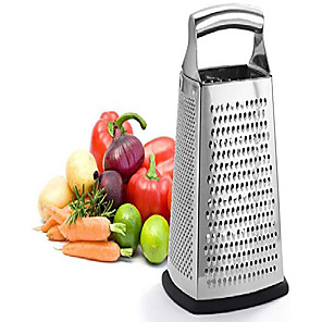 cheap novelty kitchen tools-box grater, 4-sided stainless steel large 10-inch grater for parmesan cheese, ginger, vegetables