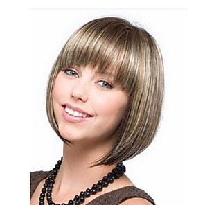 cheap Synthetic Trendy Wigs-Synthetic Wig kinky Straight Bob Neat Bang Wig Short Brown Synthetic Hair Women's Easy to Carry Adorable Comfortable Brown