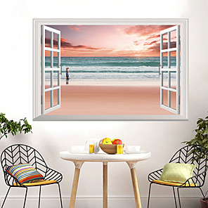 cheap Wall Stickers-Landscape Pink Beaches Seascapes Wall Stickers 3D Wall Stickers Decorative Wall Stickers PVC Home Decoration Wall Decal Wall Decoration 1pc