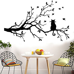 cheap Wall Stickers-Animals Wall Stickers The Cat on The Branch Wall Stickers Decorative Wall Stickers PVC Home Decoration Wall Decal Wall / Window Decoration 1pc