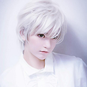 cheap Tattoo Stickers-Synthetic Wig Curly kinky Straight Pixie Cut Wig Short Creamy-white Synthetic Hair 12 inch Men's Anime Easy to Carry Cool White