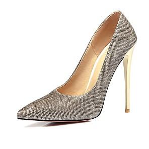 זול נעלי עקב לנשים-בגדי ריקוד נשים עקבים עקב סטילטו בוהן מחודדת קלסי יומי ריינסטון אחיד PU שחור / זהב / כסף