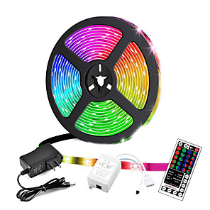 cheap LED Strip Lights-5M Led LED Light Strips RGB Tiktok Lights Not-waterproof 24W 2835 8mm 44Key IR Controller Kit with Male DC connector Line