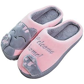povoljno LED svjetla u traci-rojeam dame slatka mačka životinja plišane natikače na zimskim toplim cipelama za spavaću sobu neklizajuće kućne papuče za žene muškarce