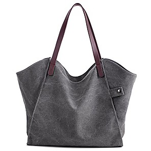 cheap Handbag & Totes-women's canvas large capacity tote shoulder work bag handbags satchel purse