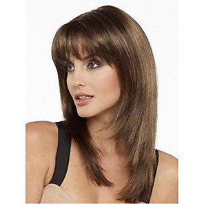 cheap Synthetic Trendy Wigs-Synthetic Wig Straight Asymmetrical Wig Medium Length Brown Synthetic Hair Women's Classic Exquisite Comfy Brown