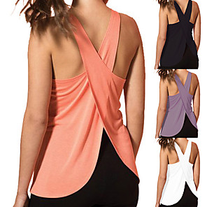 cheap Exercise, Fitness & Yoga Clothing-Women's Yoga Top Cross Back Fashion White Black Purple Pink Fitness Gym Workout Running Tank Top Sport Activewear Lightweight 4 Way Stretch Breathable Comfort Quick Dry High Elasticity Loose