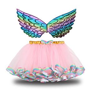 cheap Movie & TV Theme Costumes-Princess Skirt Wings Girls' Movie Cosplay Halloween New Year's Purple / Pink / Green Skirt Wings Christmas Halloween Carnival Polyester / Cotton Polyester