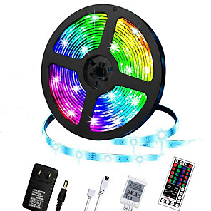 cheap LED Strip Lights-LED Strip Lights 5m RGB Color Changing Lighting Strip Tape Lights 300 LED 2835 Strip Rope Light with 44 Keys Remote Control Dimmable Mood Lighting for Home TV Kitchen DIY Decoration