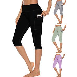 cheap Exercise, Fitness & Yoga Clothing-Women's High Waist Yoga Pants Multiple Pockets Capri Leggings Butt Lift 4 Way Stretch Breathable Black Light Green Light Purple Gym Workout Running Fitness Sports Activewear High Elasticity Slim