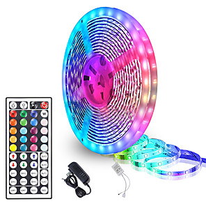 cheap LED String Lights-5 Meters Waterproof Flexible LED Light Strips 90x5050 RGB SMD LEDs IR 44 Key Controller with Installation Package and 12V Adapter Kit