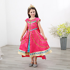 cheap Movie & TV Theme Costumes-Princess Jasmine Dress Masquerade Flower Girl Dress Girls' Movie Cosplay A-Line Slip Fuchsia Dress Children's Day Masquerade Polyester