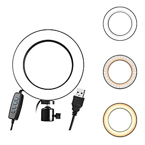 cheap Ring Lights-2pcs 1pcs 16CM 6inch LED Ring Light Fill Natural Lamp Photo Video Dimmable Lamp Stand Selfie Camera For Yutube Live Video Makeup