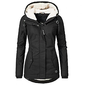 cheap Historical & Vintage Costumes-Women's Fall Winter Parka Parka Solid Colored Long Faux Shearling Long Sleeve Black S / M / L