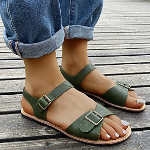 cheap Women's Sandals-Women's Sandals Flat Heel Open Toe Casual Daily Home Faux Leather Green
