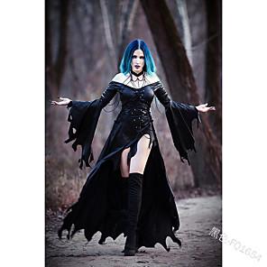 preiswerte Historische & Vintage Kostüme-Goth Girl Gothic Goth Subkultur Party Kostüme Maskerade Damen Asymmetrischer Saum Kostüm Schwarz Vintage Cosplay Klub Bar Langarm Asymmetrisch / Kleid / Kleid