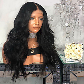 cheap Costume Wigs-Synthetic Wig Body Wave Bouncy Curl Middle Part Wig Long Black Synthetic Hair Women's Fashionable Design Soft Party Black