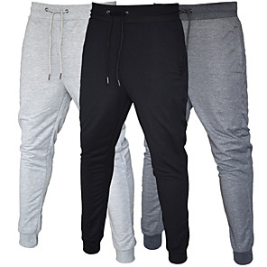 cheap Running & Jogging Clothing-Men's Sweatpants Joggers Jogger Pants Athleisure Bottoms Pocket Drawstring Cotton Fitness Gym Workout Performance Running Training Breathable Soft Sweat-wicking Normal Sport Black Dark Gray Light Gray