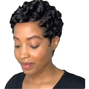 cheap Synthetic Trendy Wigs-Synthetic Wig Carrie Curl with Baby Hair Wig Long Natural Black Synthetic Hair 3-5 inch Women's African American Wig Black
