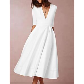 cheap Women's Sandals-Women's Swing Dress Midi Dress - Half Sleeve Deep V Going out White S M L XL XXL XXXL