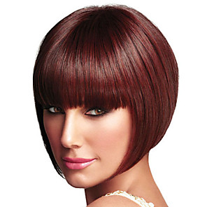 cheap Synthetic Trendy Wigs-Synthetic Wig Straight Neat Bang Wig Short Wine Red Synthetic Hair Women's Fashionable Design Exquisite Burgundy