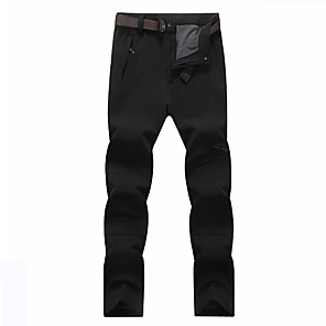 cheap Hiking Trousers & Shorts-Women's Hiking Pants Softshell Pants Solid Color Winter Outdoor Regular Fit Waterproof Windproof Breathable Warm Pants / Trousers Bottoms Black Army Green Gray Ski / Snowboard Camping / Hiking