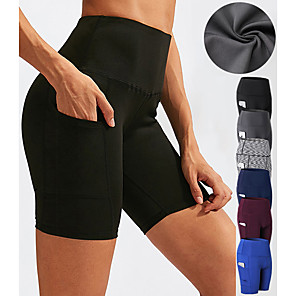 cheap Exercise, Fitness & Yoga Clothing-Women's High Waist Yoga Shorts Side Pockets Shorts Tummy Control Butt Lift 4 Way Stretch Dark Gray Wine Black Spandex Fitness Gym Workout Pilates Sports Activewear High Elasticity / Quick Dry