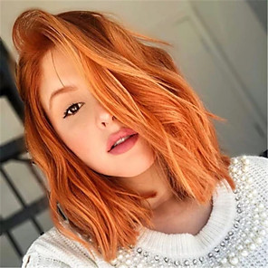 cheap Synthetic Trendy Wigs-Synthetic Wig Curly Middle Part Wig Short Orange Synthetic Hair Women's Cosplay Party Exquisite Orange