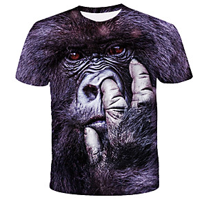 cheap RC Drone Quadcopters & Multi-Rotors-Men's Daily T-shirt Graphic Animal Print Short Sleeve Tops Streetwear Exaggerated Round Neck Black