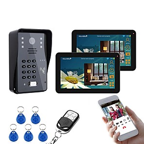 cheap Video Door Phone Systems-9 Inch 2 Monitors Wired / Wireless Wifi RFID Password Video Door Phone Doorbell Intercom System With IR-CUT 1000TVL Camera