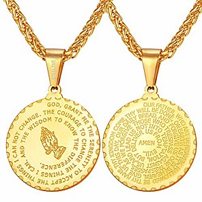 cheap Pendant Necklaces-antique coin medal necklace 925 sterling silver praying hands pendant, chain 20 inch