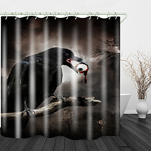 cheap Shower Curtains-Scary Eyes Crow Digital Print Shower Curtain English Green Leaf Digital Printing Shower Curtain Shower Curtains & Hooks Modern Polyester New Design