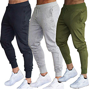 cheap Running & Jogging Clothing-Men's Joggers Jogger Pants Track Pants Sweatpants Side Pockets Elastic Waistband Thermal / Warm Windproof Breathable Black Army Green Burgundy Cotton Fitness Gym Workout Running Sports Activewear