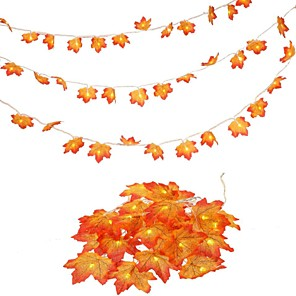 cheap LED String Lights-LED Maple Leaves String Lights 2pcs 3m 20 LED Maples Fairy Garland String Light for Outdoor Home Thanksgiving Autumn Party Holiday Decoration
