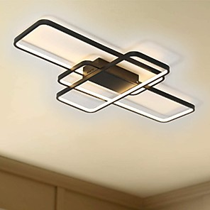 cheap Dimmable Ceiling Lights-104cm LED 3-Light Linear Flush Mount Light Aluminum Geometric Modeling Pattern 70W Painted Finishes Dimmable With Remote Control Warm White Cold White