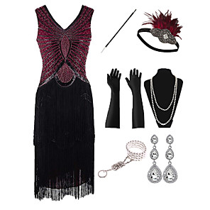 cheap Historical & Vintage Costumes-The Great Gatsby Vintage 1920s Flapper Dress Outfits Masquerade Women's Tassel Fringe Costume Red+Black Vintage Cosplay Party Prom / Gloves / Headwear / Necklace / Bracelets & Bangles / Earrings