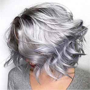 cheap Human Hair Capless Wigs-Synthetic Wig Curly kinky Straight Pixie Cut Wig Short Silver grey Synthetic Hair 14 inch Women's Fashionable Design Easy to Carry Comfy Silver