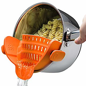 cheap Kitchen Utensils & Gadgets-snap n strain strainer - orange | patented clip on silicone colander | fits all pots and bowls