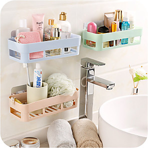 cheap Bathroom Gadgets-Punch-free Bathroom Shelf Plastic Toilet Bathroom Vanity Wall Hanging Storage Rack Basket No Trace Stickers