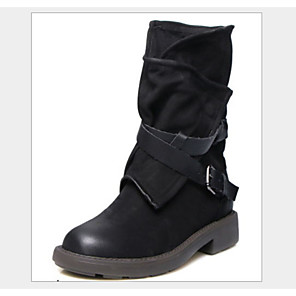 cheap Women's Boots-Women's Boots Block Heel Round Toe Casual Basic Daily Solid Colored PU Mid-Calf Boots Walking Shoes Black / Brown