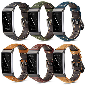 cheap Smartwatch Bands-For Fitbit Charge 4 Genuine Leather Band Strap Bracelet Wristband with Metal Clasp for Fitbit Charge 3 /Charge 3 SE