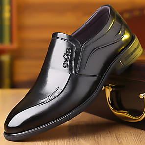 cheap Men's Slip-ons & Loafers-Men's Summer / Fall Classic / British Daily Office & Career Loafers & Slip-Ons Walking Shoes Nappa Leather Wine / Black