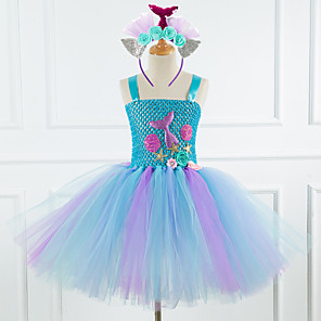 cheap Movie & TV Theme Costumes-Mermaid Dress Girls' Movie Cosplay New Year's Purple / Blue / Pink Dress Headwear Christmas Halloween Carnival Polyester / Cotton Polyester