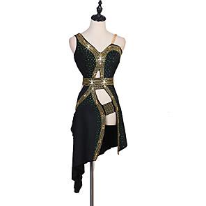 cheap Latin Dancewear-Latin Dance Dress Sashes / Ribbons Split Joint Crystals / Rhinestones Women's Training Sleeveless High Chinlon