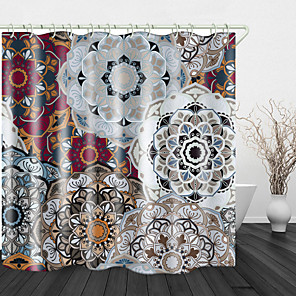 cheap Shower Curtains-Big flower Print Waterproof Fabric Shower Curtain for Bathroom Home Decor Covered Bathtub Curtains Liner Includes with Hooks