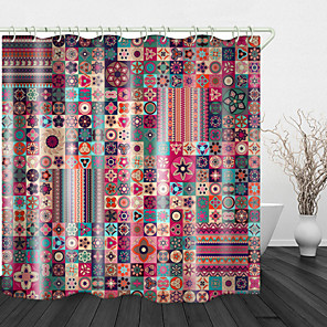 cheap Shower Curtains-Colorful Ethnic flowers Print Waterproof Fabric Shower Curtain for Bathroom Home Decor Covered Bathtub Curtains Liner Includes with Hooks