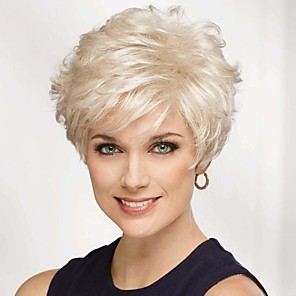 cheap Human Hair Capless Wigs-Human Hair Blend Wig Short Natural Straight Pixie Cut With Bangs Silver Blonde Women New Arrival Comfortable Capless Women's Brown Grey Medium Auburn#30 8 inch