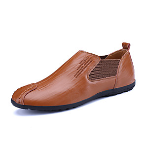 cheap Men's Slip-ons & Loafers-Men's Spring / Fall Business / Classic / Casual Daily Office & Career Loafers & Slip-Ons Nappa Leather Breathable Non-slipping Wear Proof Black / Yellow / Brown