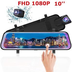 cheap Car DVR-Auto Dvr Dual Lens Achteruitrijcamera Full-Screen Touching10 Ips Scherm Auto Dvr Drive Recorder Streamen Achteruitkijkspiegel spiegel Dash Camer